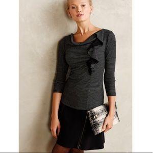 ANTHRO DELETTA Black Tweed Ophelia Ruffled Top